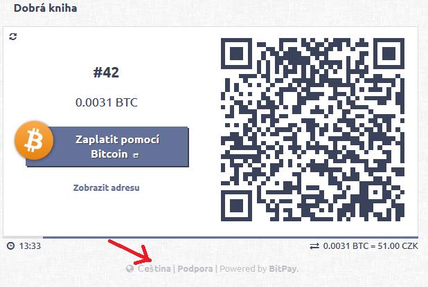 Ukázka platby Bitcoiny